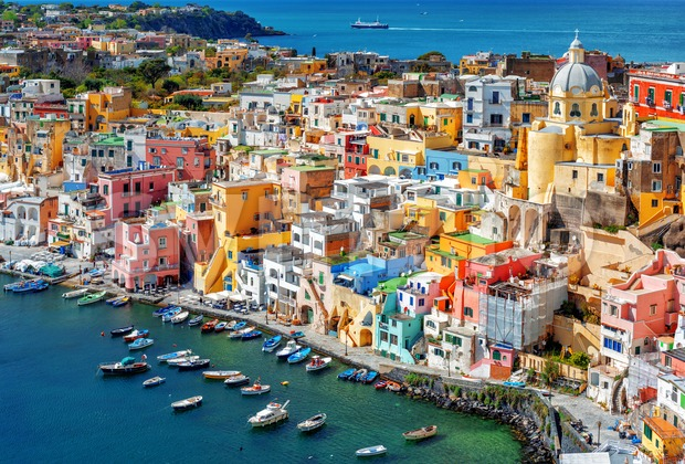 Colorful traditional houses in the Old town port of Procida island, Naples, Italy