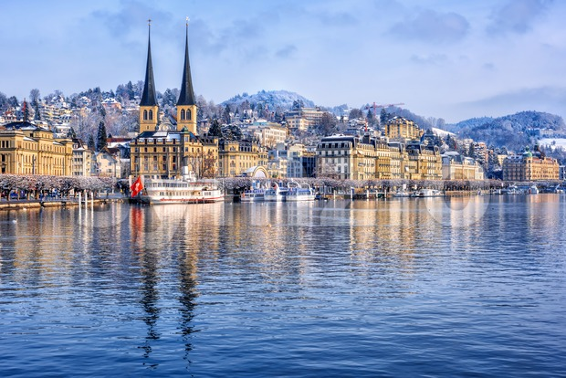 Lucerne city on Lake Lucerne, Switzerland, on a cold winter day