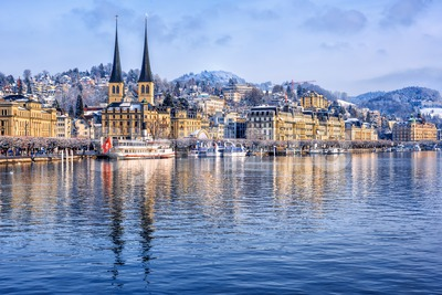 Lucerne city on Lake Lucerne, Switzerland, in winter Stock Photo