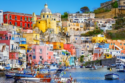 Old town port of Procida island, Naples, Italy Stock Photo