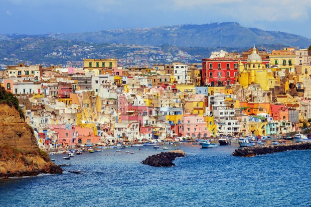 Colorful fishing village on Procida island, Naples, Italy Stock Photo
