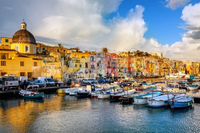 Port of Procida island, Naples, Italy Stock Photo