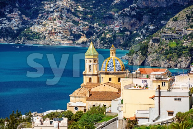 Praiano town on Amalfi coast, Italy Stock Photo
