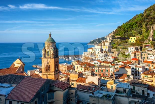 Historical Amalfi Old town on mediterranean Amalfi coast, Sorrentine peninsula, Italy