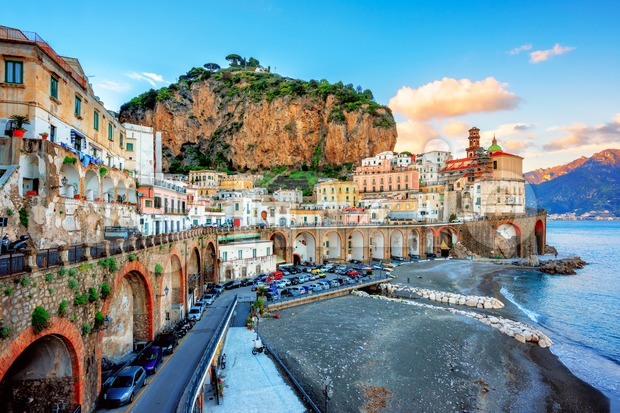 Atrani Old town and beach on Amalfi coast, Naples, Italy Stock Photo