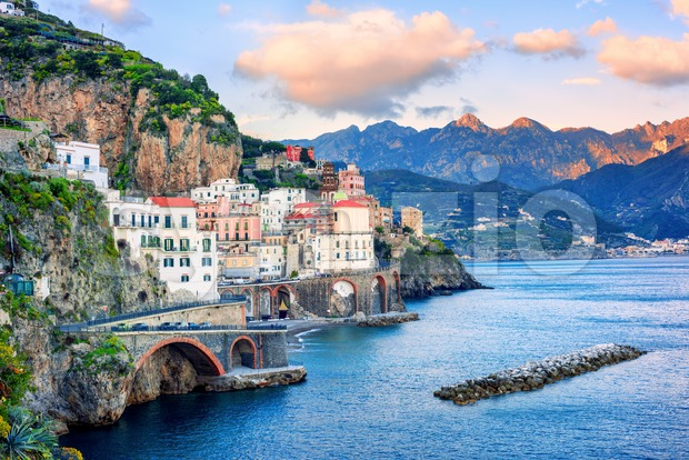 Atrani town on spectacular mediterranean Amalfi coast, Naples, Italy, in sunset light