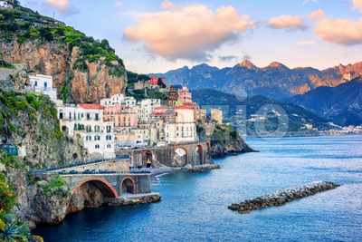 Atrani town on Amalfi coast, Italy Stock Photo