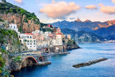 Atrani town on Amalfi coast, Italy Stock Photo