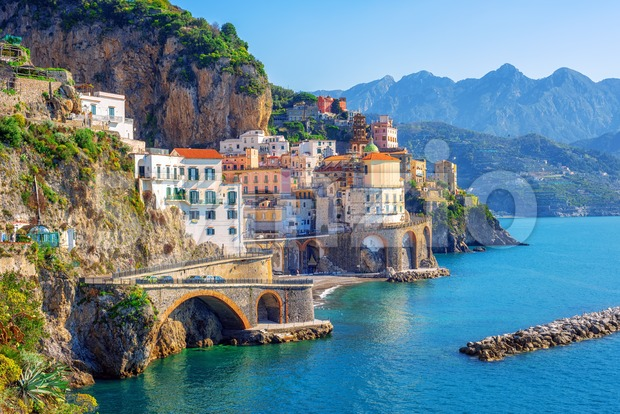 Atrani town on Amalfi coast, Sorrento, Italy Stock Photo