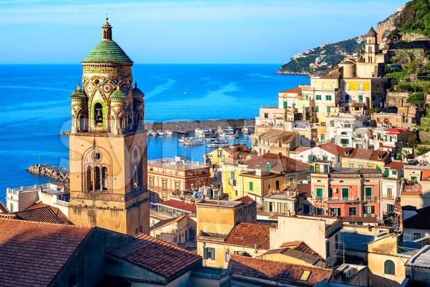 Amalfi Old town on Amalfi coast, Sorrentine peninsula, Italy Stock Photo
