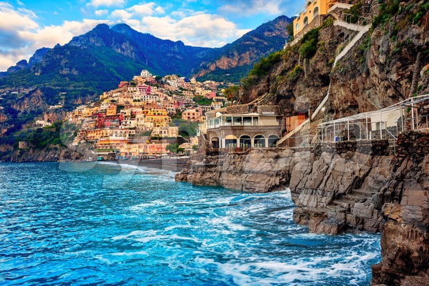 Positano, a cliffside village on Amalfi coast, Naples, Italy, dramatically set between rocks on Mediterranean sea