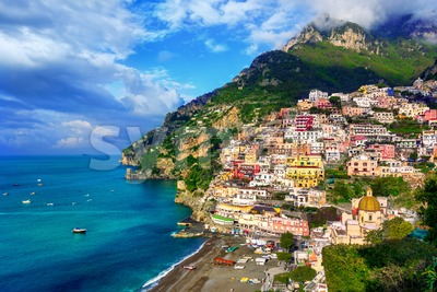 Positano, a picturesque village on Amalfi coast, Italy Stock Photo
