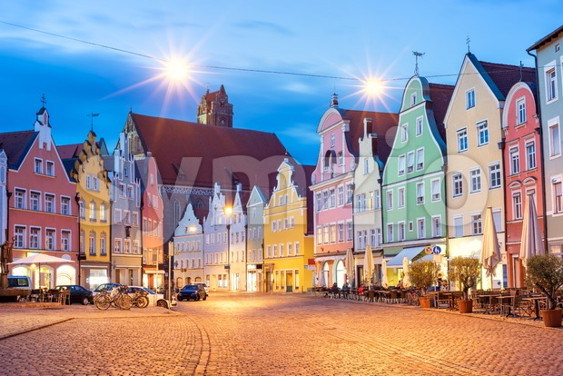 Medieval architecture in Landshut, Bavaria, Germany Stock Photo