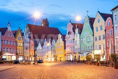 Medieval architecture in Landshut, Bavaria, Germany Stock Photo