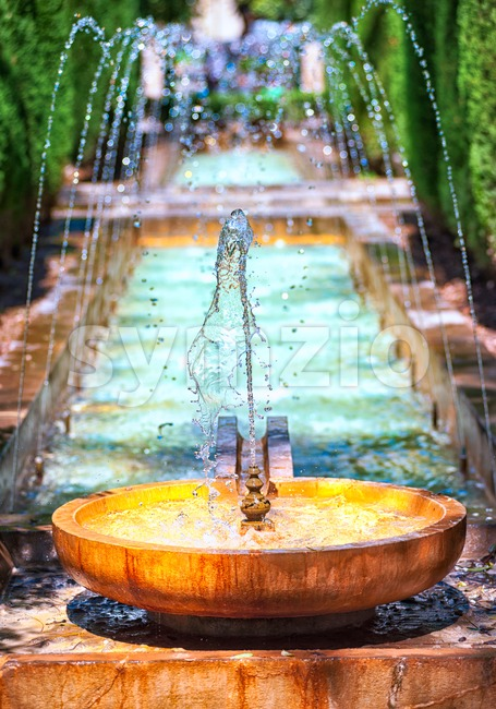 Fountain in the palace garden of Palma de Majorca, Spain Stock Photo