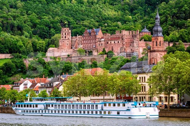 Heidelberg city on Neckar river is a popular tourist destination on the Romantic Road in Germany
