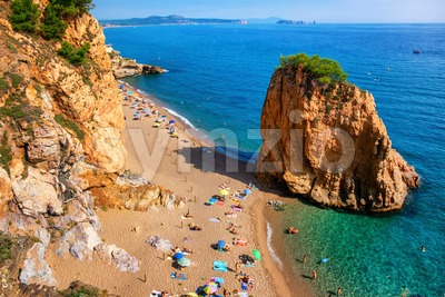 Illa Roja sand beach, Costa Dorada, Spain Stock Photo