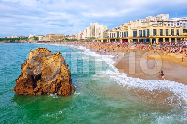 The Grande Plage sand beach in the center of Biarritz city on Atlantic coast, Basque Country, France