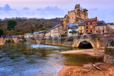 Estaing Old town on Lot river, Aveyron, France Stock Photo