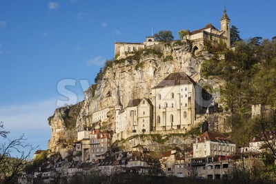 Spectacular Rocamadour village on a rock, France Stock Photo