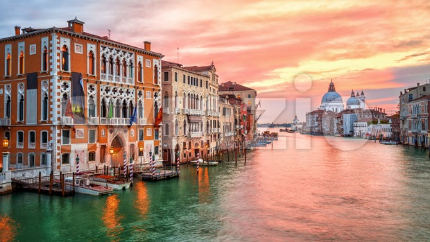 Sunrise on Canal Grande in Venice, Italy Stock Photo