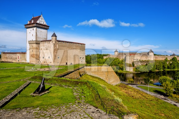 Narva castle, Estonia, overlooking russian estonian border Stock Photo