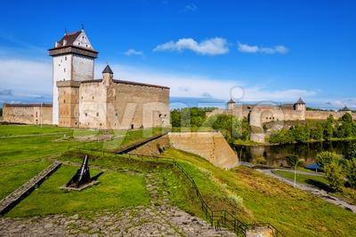 Narva castle, Estonia, overlooking russian estonian border Stock Photo