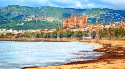 Panoramic view of Palma beach, Majorca, Spain Stock Photo