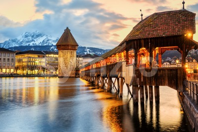 Lucerne city, historical Chapel bridge on sunset Stock Photo