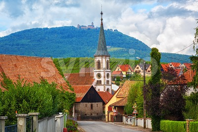 Rorschwihr village and Haut Koenigsbourg castle in Alsace, France Stock Photo