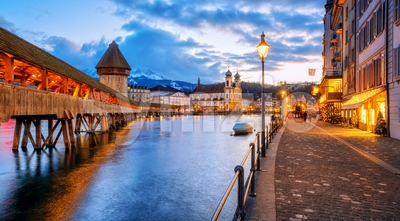 Lucerne Old town riverside promenade, Switzerland Stock Photo