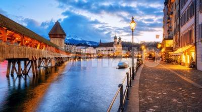 Lucerne Old town riverside promenade, Switzerland Stock Photo