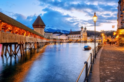 Lucerne Old town in evening light, Switzerland Stock Photo