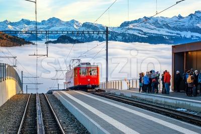 Rigi Kaltbad alpine railway station, Switzerland Stock Photo