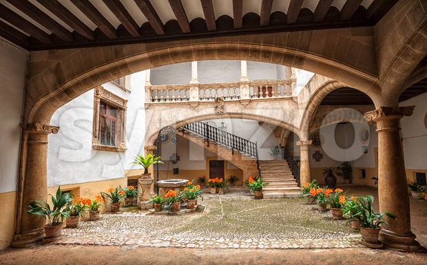 Picturesque mediterranean courtyard in Palma de Mallorca, Spain Stock Photo