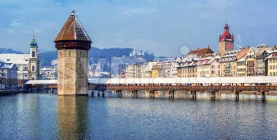 Panoramic view of Lucerne Old town, Switzerland, in winter Stock Photo