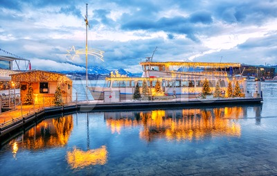 Christmas time on Lake Lucerne, Switzerland Stock Photo