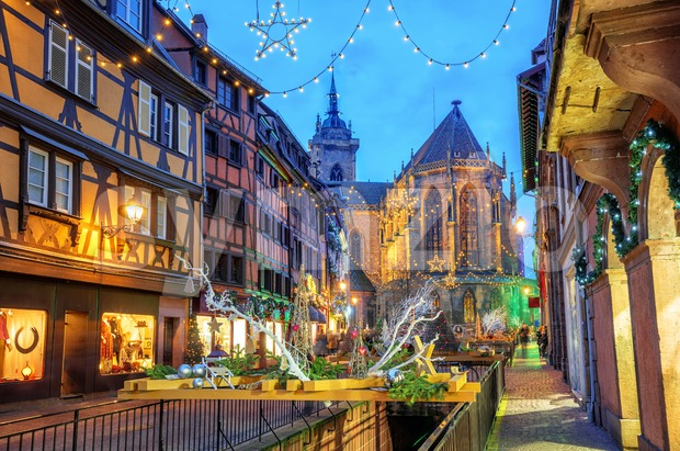 Colmar city, Alsace, France, illuminated for Christmas Stock Photo