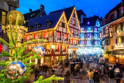 Christmas illumination in Colmar Old town, Alsace, France Stock Photo