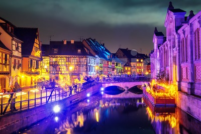 Old town of Colmar, Alsace, France, illuminated for Christmas celebrations Stock Photo