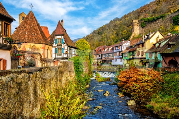 Kaysersberg in Alsace, one of the most beautiful villages of France Stock Photo