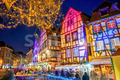 Christmas illumination on a street in Colmar Old town, Alsace, France Stock Photo