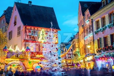 Christmas time illumination in Colmar, Alsace, France Stock Photo