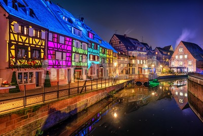 Historical houses illuminated for Christmas in Colmar, Alsace, France Stock Photo