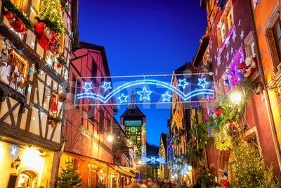 Riquewihr Old town in Christmas time, Alsace France Stock Photo