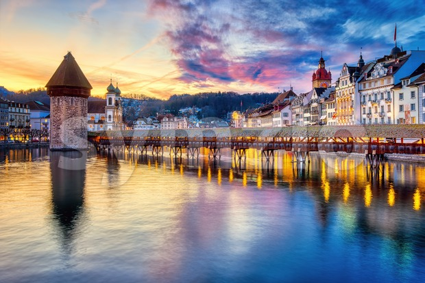 Historical Old town of Lucerne, Switzerland, in dramatic sunset light