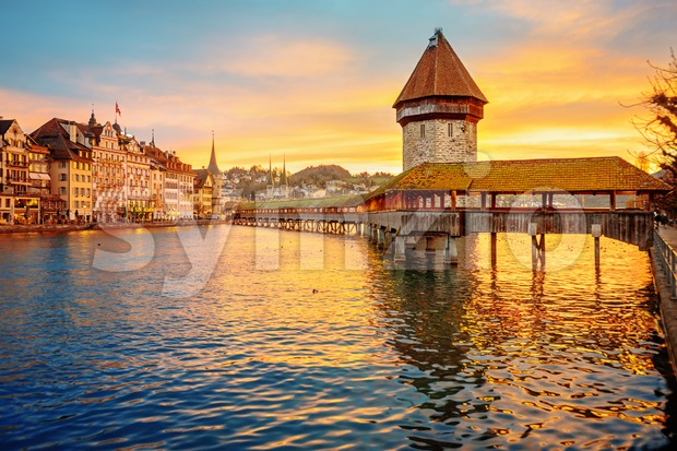 Lucerne, Switzerland, historical Old town on sunrise Stock Photo