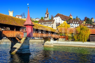 Lucerne city, Spreuer bridge and Old town wall towers, Switzerland Stock Photo