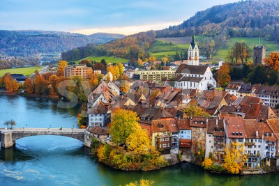 Laufenburg Old town on Rhine river, Switzerland Stock Photo
