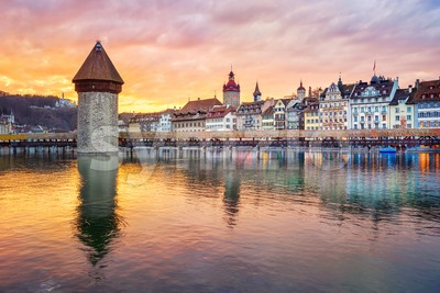 Dramatic sunset over historical Lucerne Old town, Switzerland Stock Photo